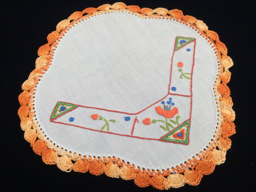 1930 - 1940s Australian Vintage Embroidered Small White Linen Doily with Floral Design and Variegated Orange Crochet Lace Edging