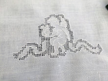 Load image into Gallery viewer, Vintage Embroidered Angel Pattern Linen Tea or Guest Towel