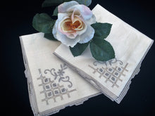 Load image into Gallery viewer, A Pair of Unused Vintage Cloth Napkins with Ivory/Ecru Hand Embroidery and Ajour Openwork Edge