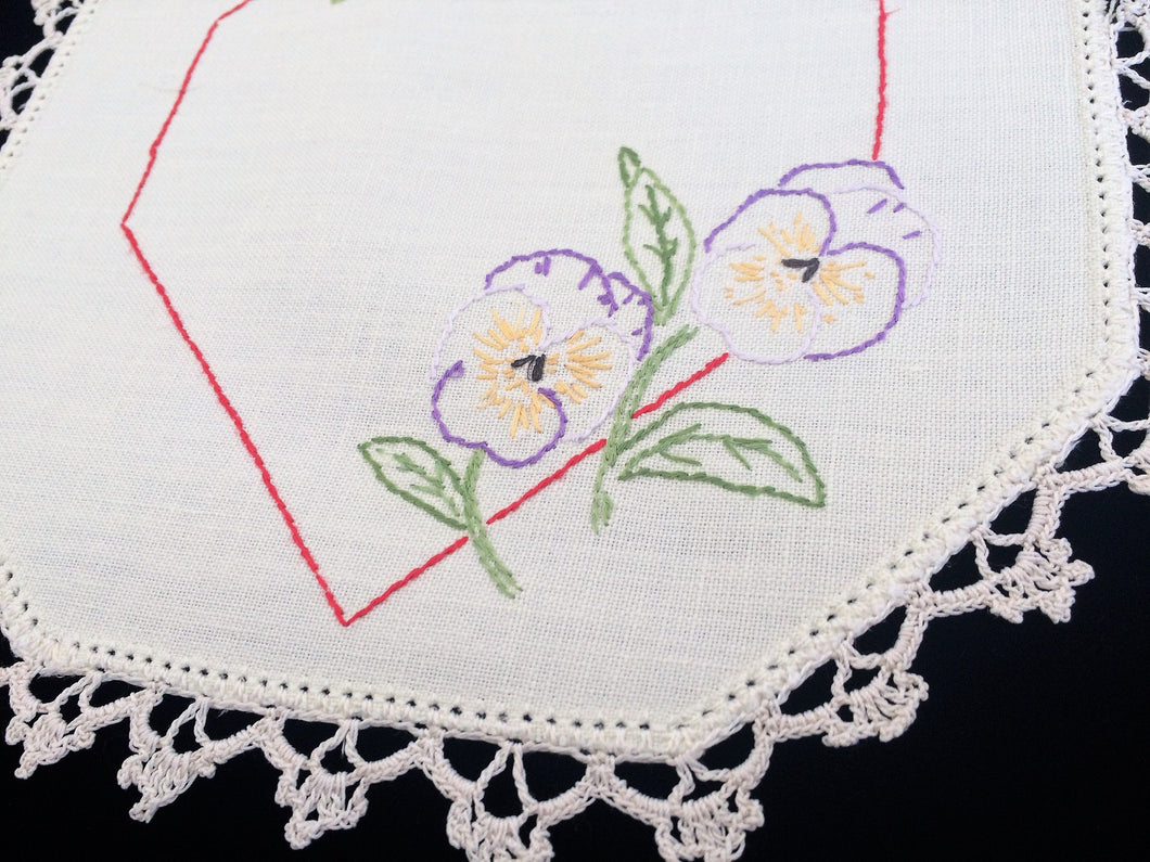 Vintage Embroidered Off White Small Hexagonal Linen Doily with Pansies and Crochet Edging RBT3517