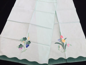 A Pair of Vintage Applique Embroidered Green and White Cotton Linen Tea or Guest Towels