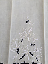 Load image into Gallery viewer, Vintage Pale Yellow and White Madeira Embroidered Linen Tea or Guest Towel