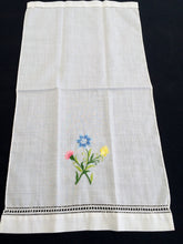 Load image into Gallery viewer, Vintage Embroidered White Linen Tea/Guest Towel with Ajour (Openwork) and Garden Flowers