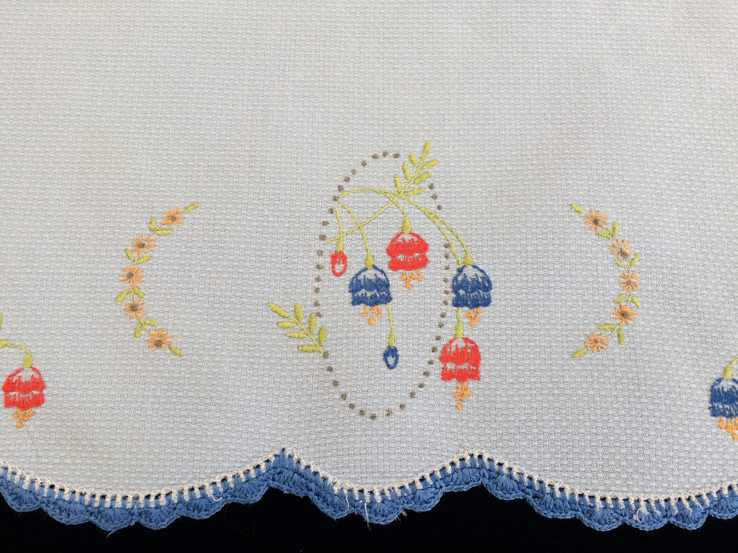 Vintage Embroidered Blue Waffle Linen Tea or Guest Towel with Blue Crocheted Edge