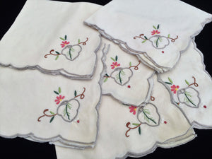 A Set of 6 Hand Embroidered Ivory Linen Vintage Madeira Cutwork Linen Napkins with Grey Scalloped Edging