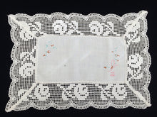 Load image into Gallery viewer, Vintage/Antique Embroidered Oblong Off-White Linen Doily or Placemat. Floral Embroidery with Filet Lace Edging