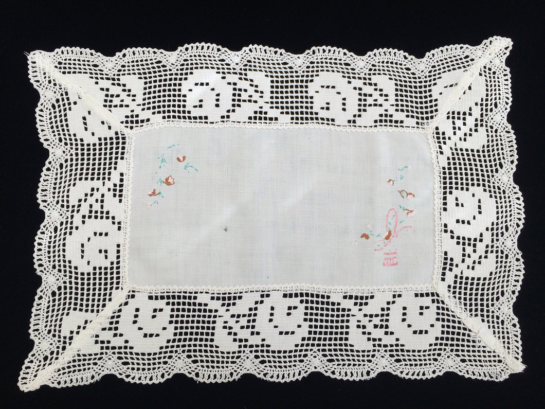 Vintage/Antique Embroidered Oblong Off-White Linen Doily or Placemat. Floral Embroidery with Filet Lace Edging