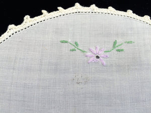 Vintage White Round Embroidered Flower Basket Doily with Crochet Lace Edging
