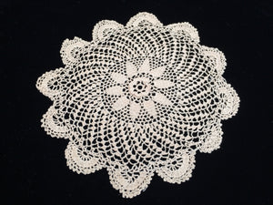 Antique Ecru Colour Round Fine Crocheted Lace Doily with 3 Dimensional Flower