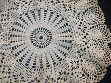 Load image into Gallery viewer, Ruffled Vintage Cotton Lace Doily. Round Crocheted Doily. Round Tea Dyed Doily