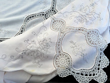 Load image into Gallery viewer, Large Hand Embroidered Ivory Banquet Tablecloth with Beige Crochet Lace
