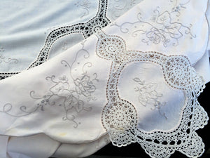 Large Hand Embroidered Ivory Banquet Tablecloth with Beige Crochet Lace