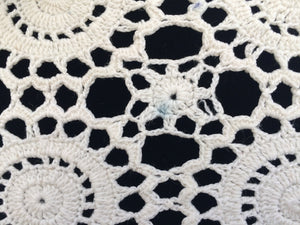 Vintage Ivory Crocheted Lace Oblong Table Runner