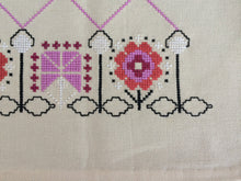 Load image into Gallery viewer, Unused Retro Vintage Embroidered Cross Stitch Garden Flowers Design Off White Table Runner
