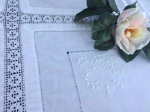 Irish Lace and Linen Antique White Embroidered Linen and Filet Crochet Tablecloth