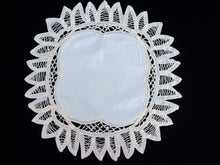 Load image into Gallery viewer, Vintage Ivory/Cream Battenburg Lace and Cotton Linen Round/Square Doily