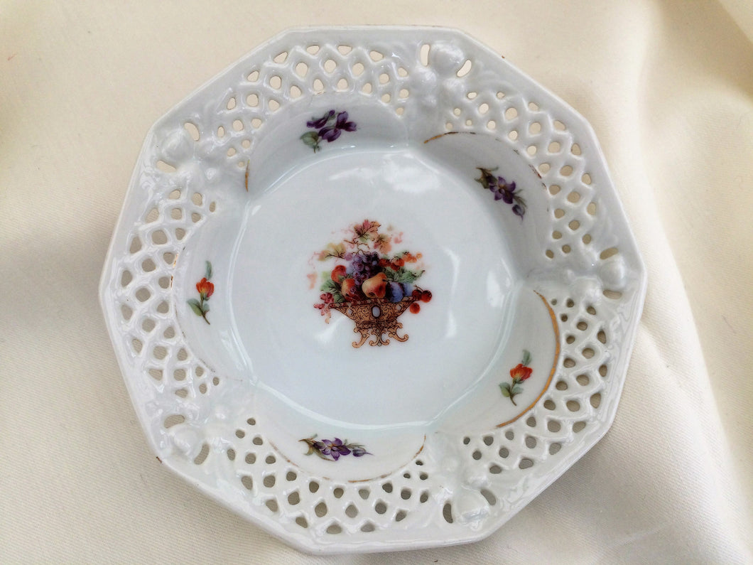 Arzberg Bavaria Fine Bone China Dish with Fruit Bowl - Violets Pattern