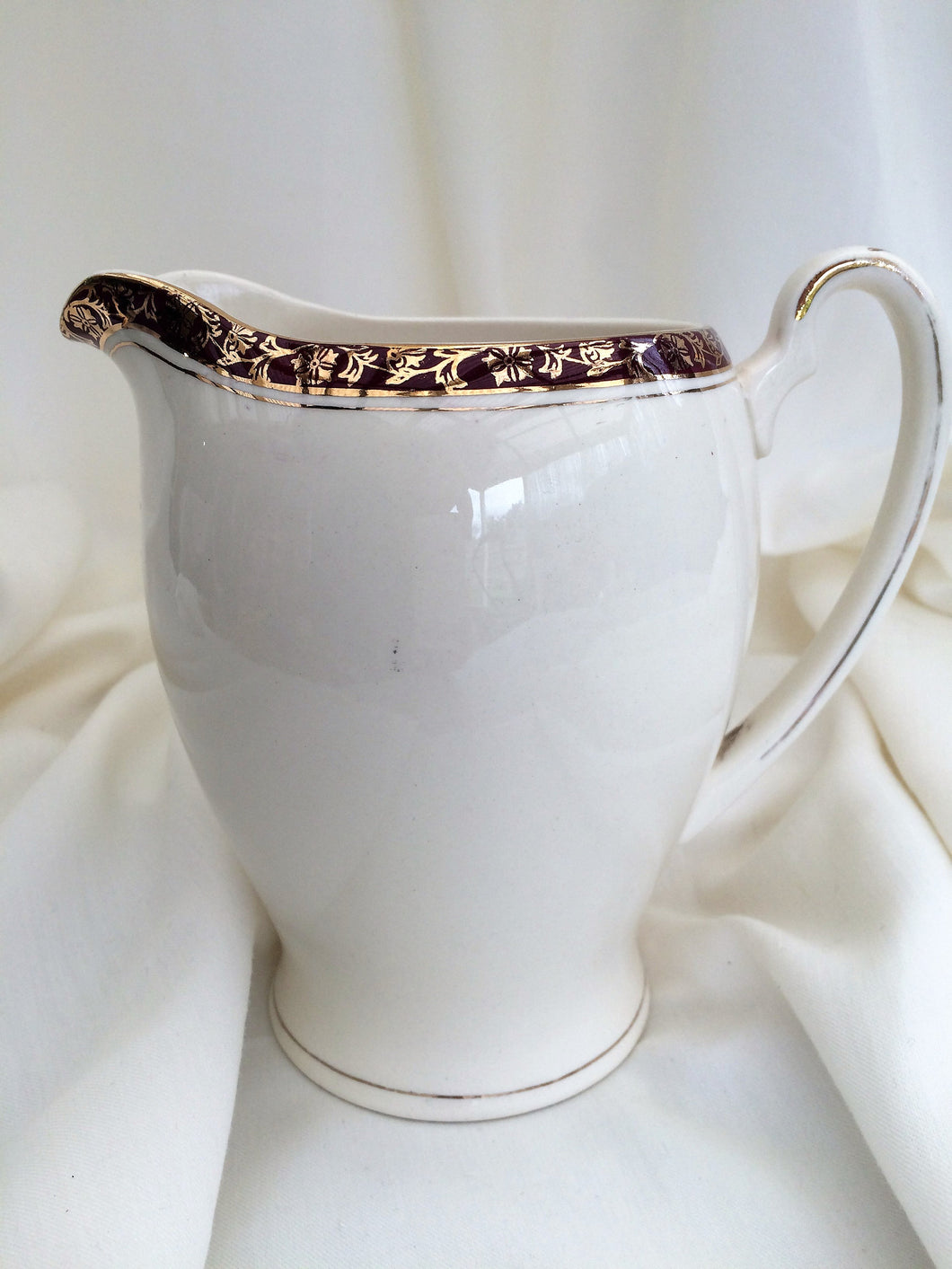 Alfred Meakin Maroon and Gold Vintage Pitcher