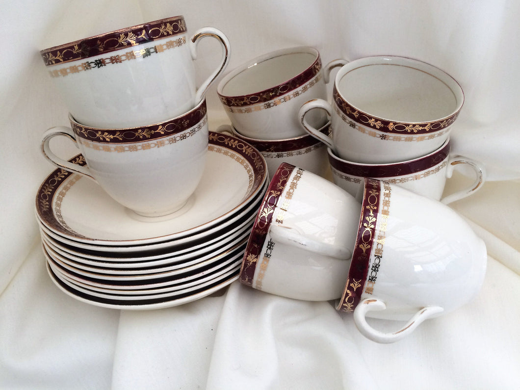Alfred Meakin (UK) Maroon and Gold Vintage Tea Set 18 Pieces