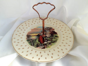 A J Wilkinson Honeyglaze One Tier Vintage Cake Plate with Rural Scene