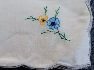 A Set of 24 Vintage Machine Embroidered Ivory Cotton Blend Party Napkins