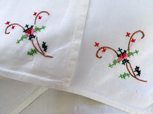 Set of 6 White Hand Embroidered Napkins with Cross Stitch Flowers