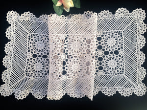 Vintage Ecru (Natural Cotton Colour) Lace Rectangular Crocheted Cotton Table Runner