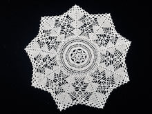 Load image into Gallery viewer, Vintage or Antique Round Crocheted Cotton Lace Doily in Ecru/Ivory Colour