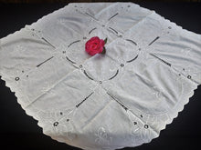 Load image into Gallery viewer, Embroidered White Vintage Cotton Linen Tablecloth with Scalloped Edging