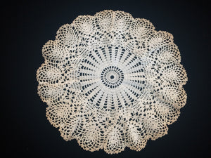 Ruffled Vintage Cotton Lace Doily. Round Crocheted Doily. Round Tea Dyed Doily