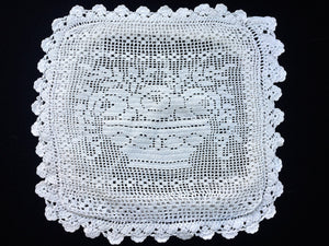 Vintage European Sham Square Off-White Filet Crochet Lace Cushion Cover with Flower Basket Pattern