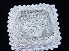 Load image into Gallery viewer, Vintage European Sham Square Off-White Filet Crochet Lace Cushion Cover with Flower Basket Pattern