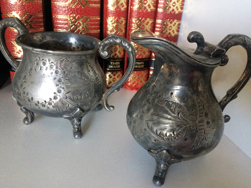 Antique Sterling Silver Creamer and Sugar Bowl Set with Feet