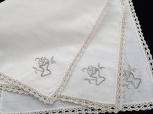 Load image into Gallery viewer, A Set of 3 Hand Embroidered Vintage Ivory Linen Napkins with Ecru Crochet Lace Edging
