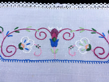 Load image into Gallery viewer, Australian 1930/40s Vintage Hand Embroidered White Linen Doily/ Tray Cloth or Breakfast Placemat with Crochet Lace Edge