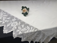 Load image into Gallery viewer, Vintage Irish Ivory Linen Tablecloth with Deep Filet Crochet Lace Edging