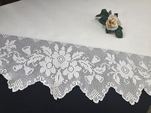 Vintage Irish Ivory Linen Tablecloth with Deep Filet Crochet Lace Edging