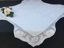 Load image into Gallery viewer, Small Vintage Irish Lace and Linen Card Tablecloth with Mary Card Designed Anemones Filet Crochet Edging