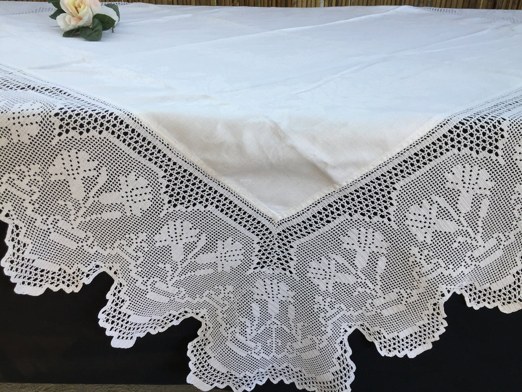 Vintage Irish Damask Tablecloth with Carnations Deep Filet Crochet Lace Edging