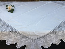 Load image into Gallery viewer, Vintage Irish Damask Tablecloth with Carnations Deep Filet Crochet Lace Edging