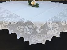 Load image into Gallery viewer, Antique White Irish Linen Tablecloth with Butterflies and Roses Deep Filet Crochet Lace Edging