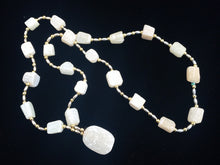 Load image into Gallery viewer, Natural White Stone or Rough Crystal and Gold and Silver Tone Metal Beaded Necklace with Pendant