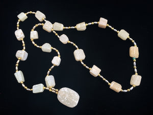 Natural White Stone or Rough Crystal and Gold and Silver Tone Metal Beaded Necklace with Pendant