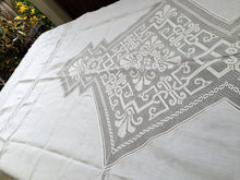 Load image into Gallery viewer, Large Oblong Vintage Irish Linen and Art Deco Off-White Filet Crochet Inlay and Edging