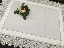Load image into Gallery viewer, Vintage Oblong Embroidered Irish Linen Table Topper Cloth with Filet Crochet Edging EL0195