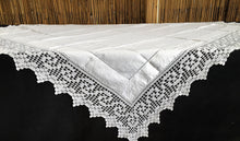 Load image into Gallery viewer, Antique Irish Linen and Lace Tablecloth with Ajour Openwork Embroidered and Deep Filet Crochet Edging