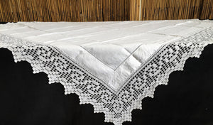 Antique Irish Linen and Lace Tablecloth with Ajour Openwork Embroidered and Deep Filet Crochet Edging
