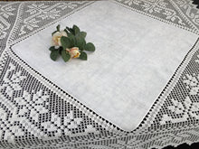 Load image into Gallery viewer, Vintage Irish Art Nouveau Style Damask Linen Tablecloth with Deep Filet Crochet Lace Edging