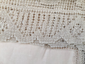 Irish Linen Tablecloth Unused Vintage with Cherubs Design on Deep Filet Lace Edging