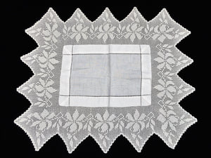 Antique Irish Linen and Lace Butler's Cloth with Ajour Openwork Embroidered and Deep Filet Crochet Edging